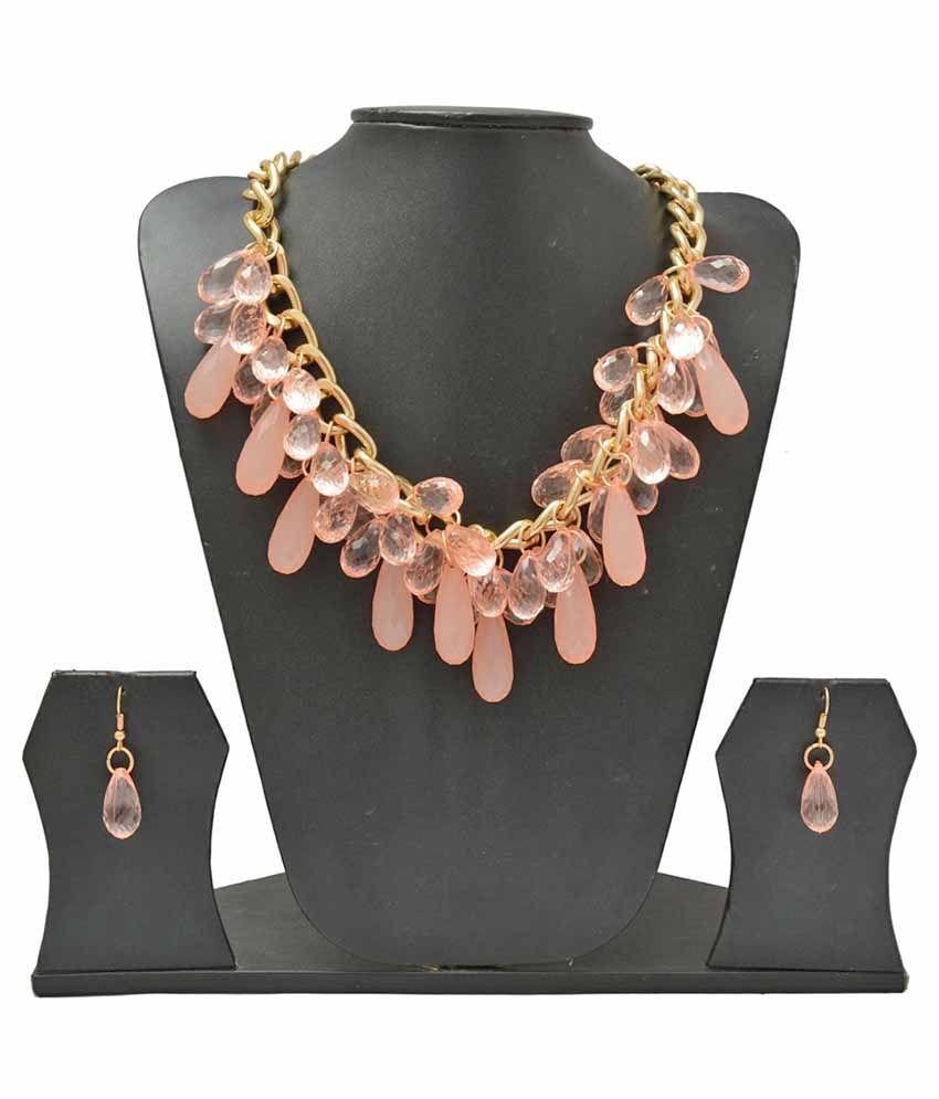 Shopaholic Fashion Pink Alloy Necklace Set