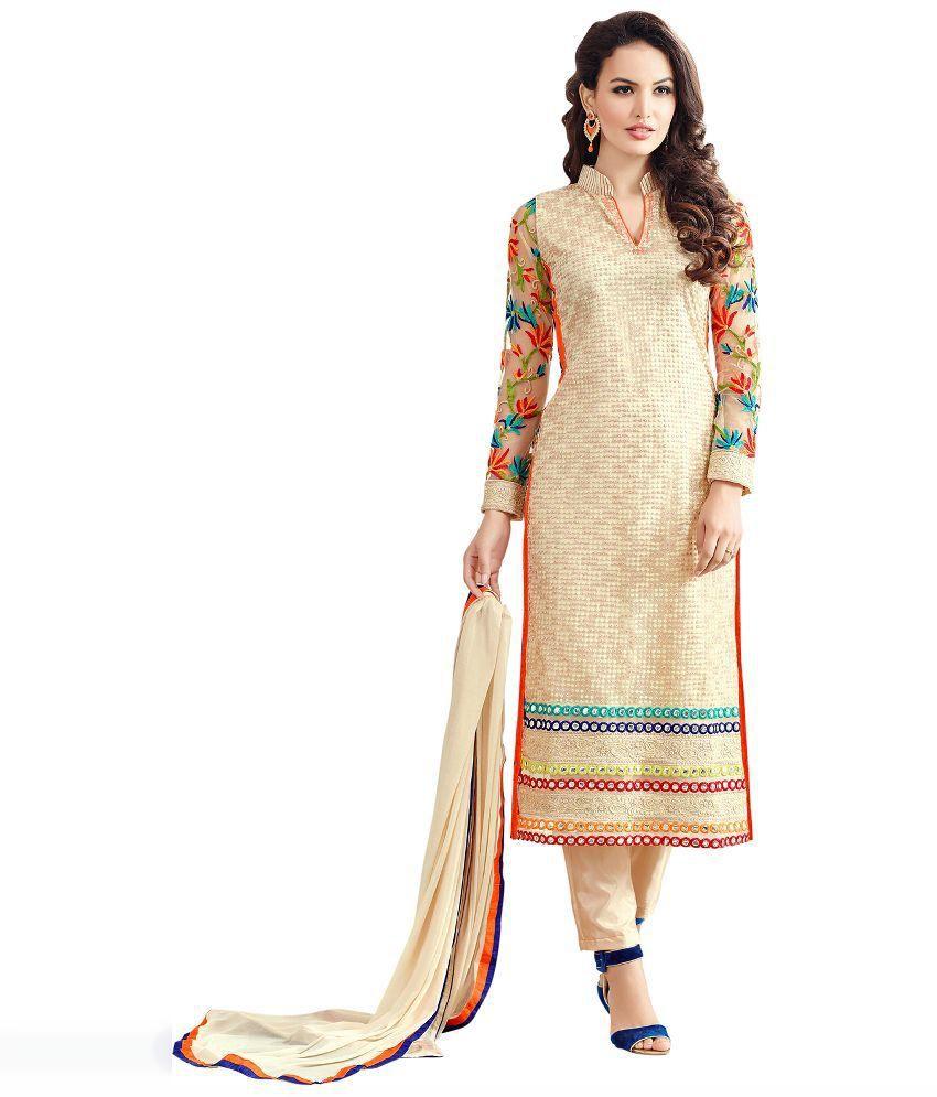 c22f01ae7a Mastani White and Beige Net Pakistani Suits Semi Stitched Dress Material - Buy  Mastani White and Beige Net Pakistani Suits Semi Stitched Dress Material ...