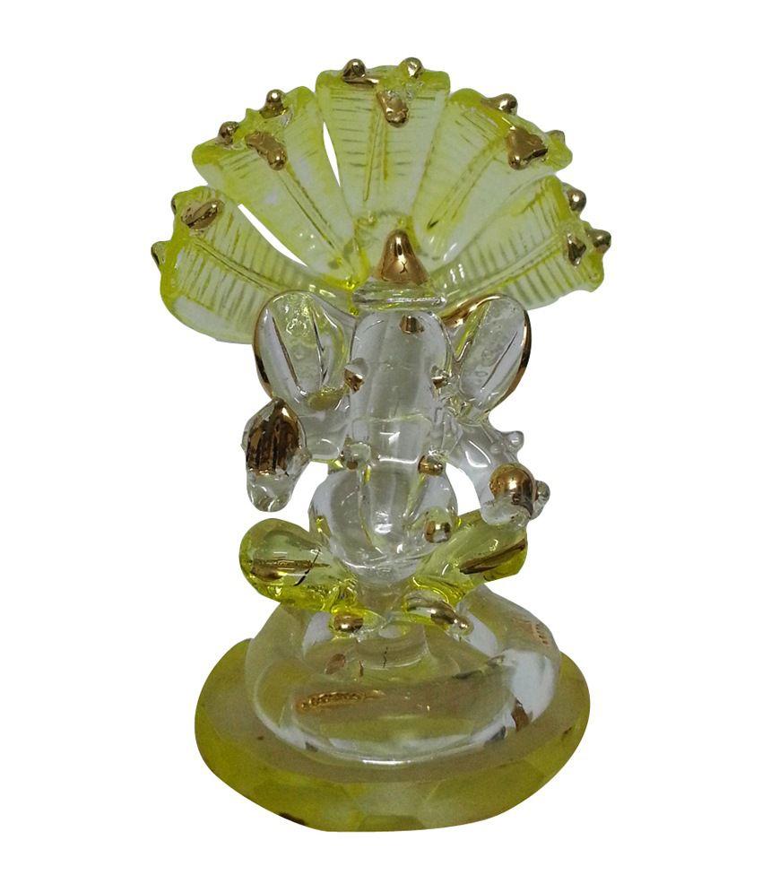 Anay Traders Yellow Glass God Idol