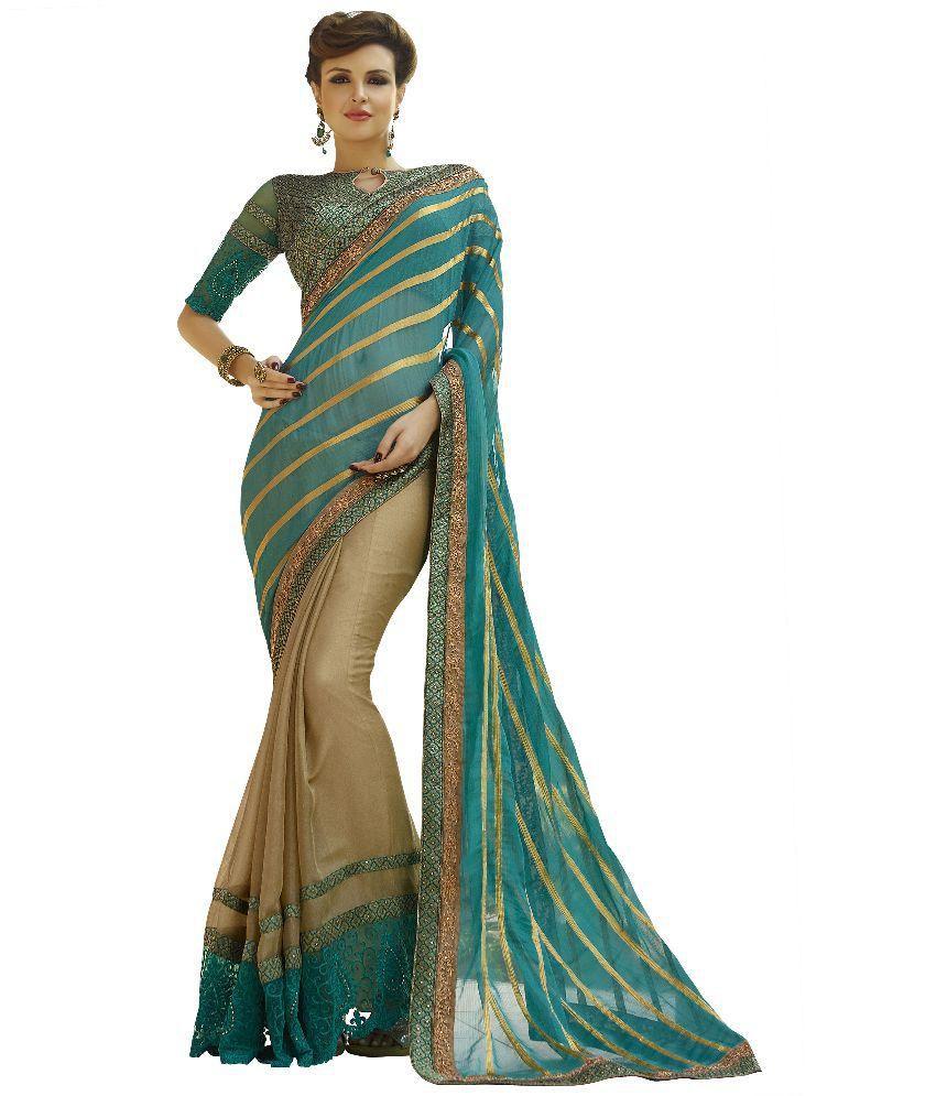 Adityadarshan Creation Blue Viscose Saree