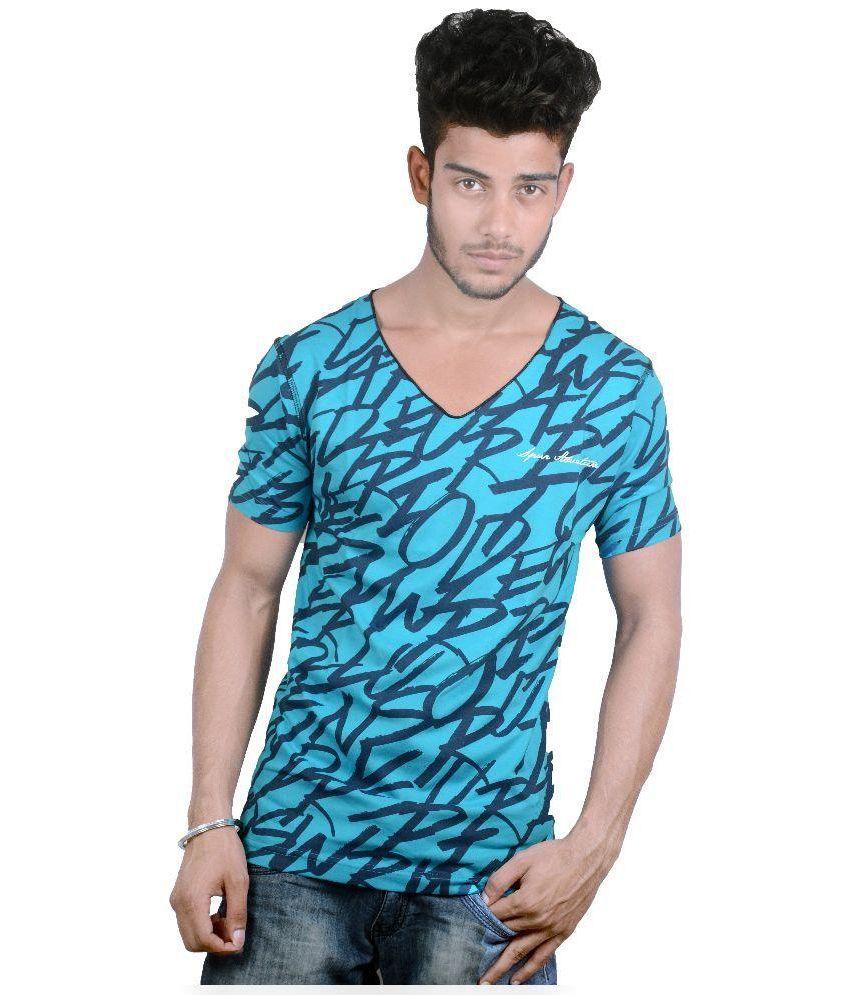 Spur Blue Cotton T-Shirt