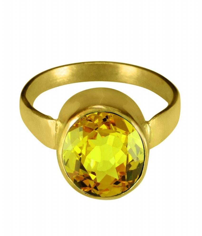 ASIAN GEMS & JEWELS Cultured Yellow Sapphire / Pukhraj Gemstone Finger Ring (Panch Dhaatu) Of 1.25 Ratti