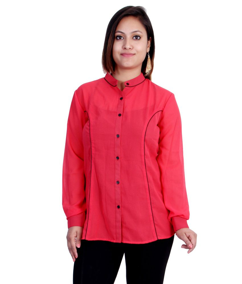 f81b2cb9f656 Buy Indicot Red Poly Georgette Shirts Online at Best Prices in India -  Snapdeal