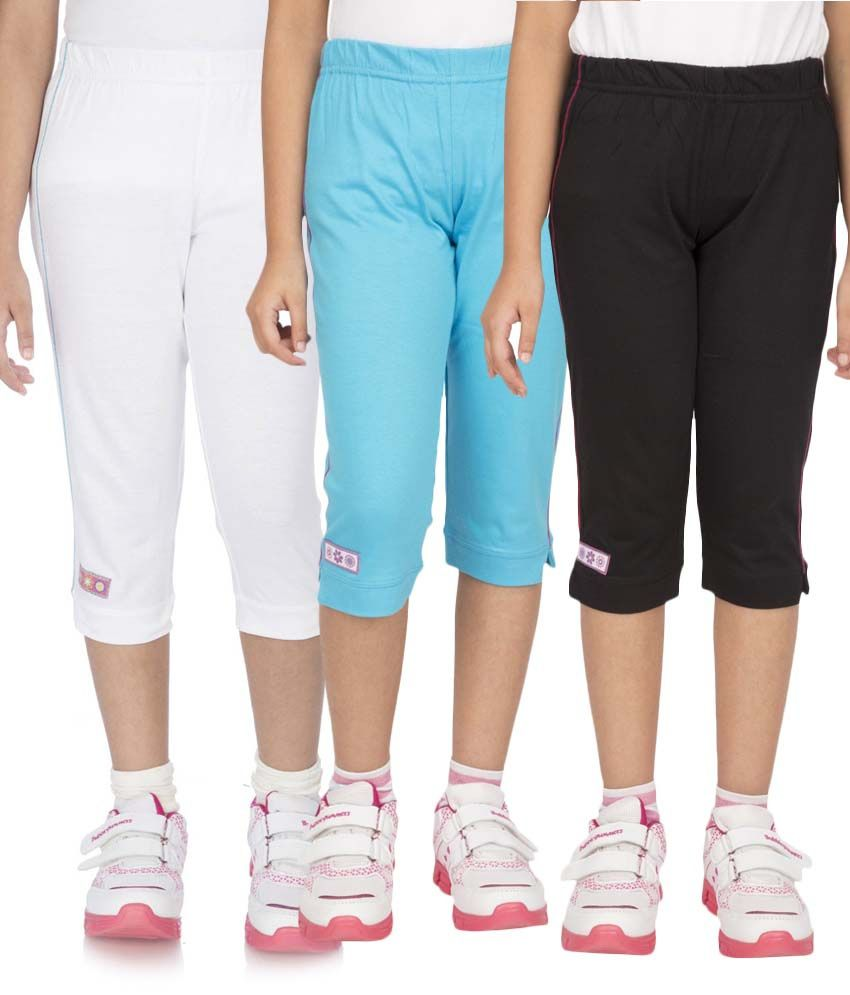 Ocean Race Multicolour Capri For Girls Pack Of 3