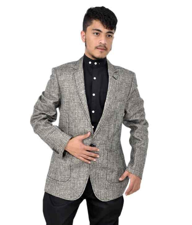 Sfw Grey Cotton Blend Blazer