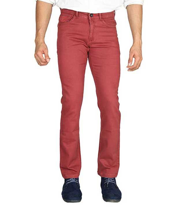 Wax Woods Maroon Regular Fit Casual Flat Trousers