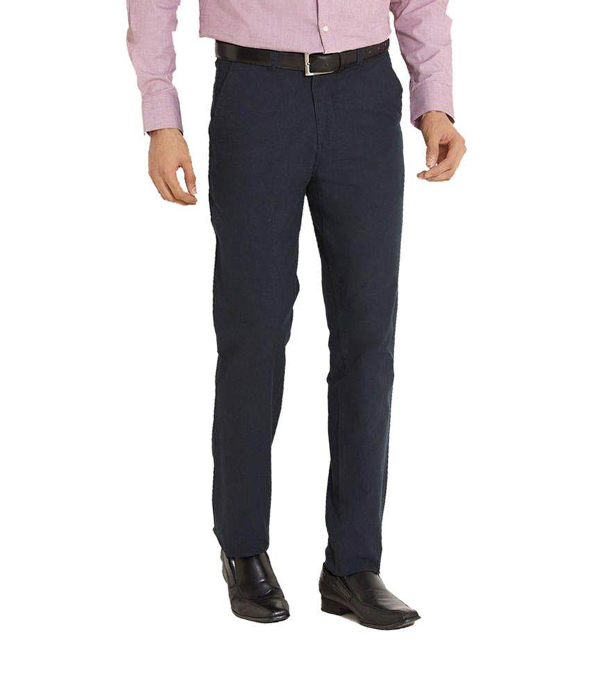 Wajbee Navy Regular Fit Formal Flat Trousers