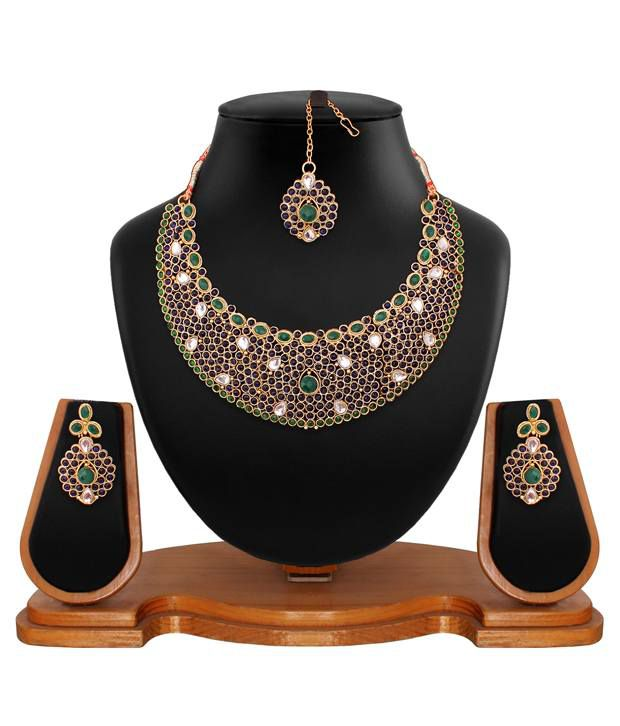 Vendee Fashion Multicolour Brass Necklace Set With Maang Tika