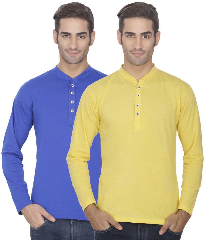 Esoul Solid Men's Yellow & Royal Blue Henley Tshirt