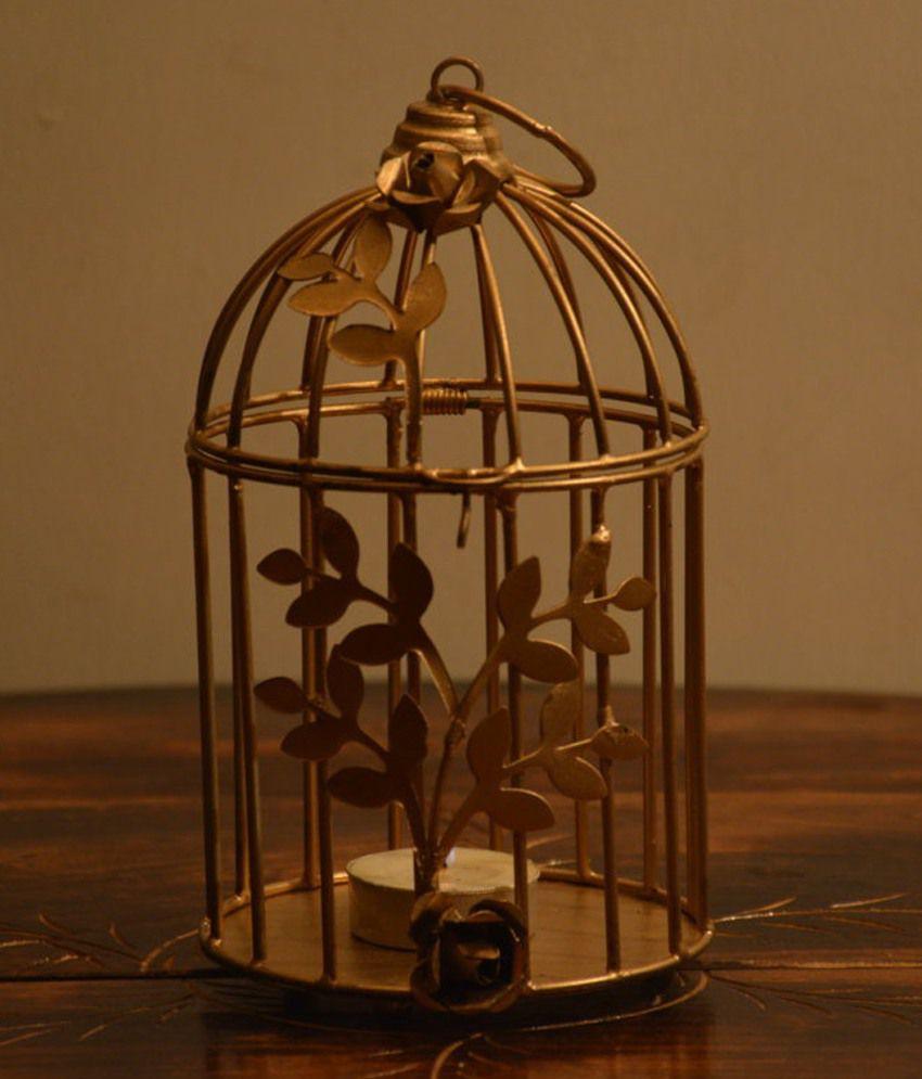 Yashasvi Gold Bird Cage T Light Holder Buy Yashasvi Gold Bird Cage