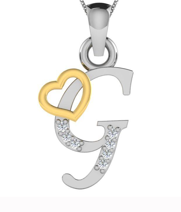 kataria jewellers letter g with valentine heart 925 bis hallmarked silver and swarovski alphabet initial pendant