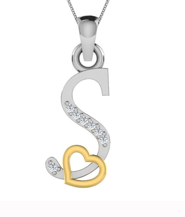 kataria jewellers letter s with valentine heart 925 bis hallmarked silver and swarovski alphabet initial pendant