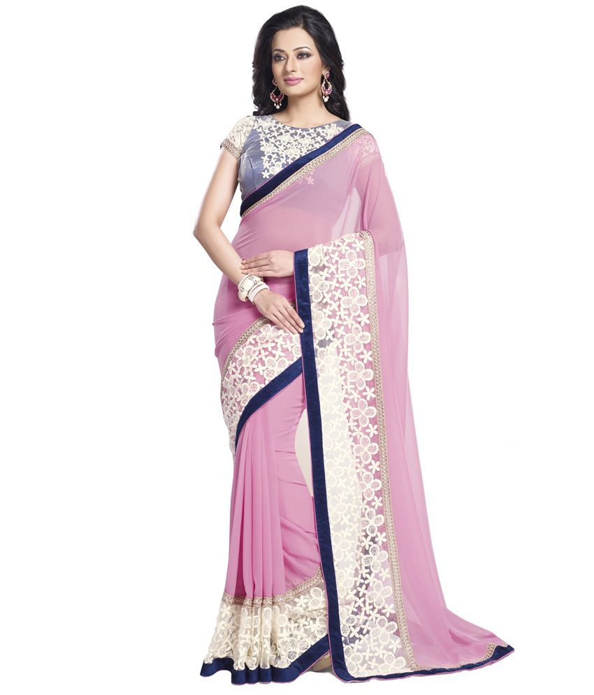9909ed682aa8c9 Palav Rose White and Pink Georgette Designer Saree With Lace Panel    Contracting Raw Silk Blouse - Buy Palav Rose White and Pink Georgette  Designer Saree ...
