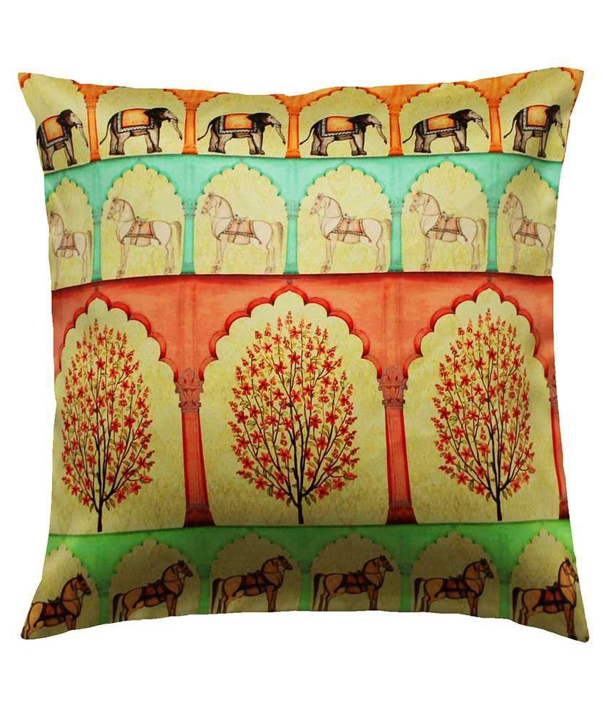 Cult Curio Multicolor Printed Satin Cushion Cover