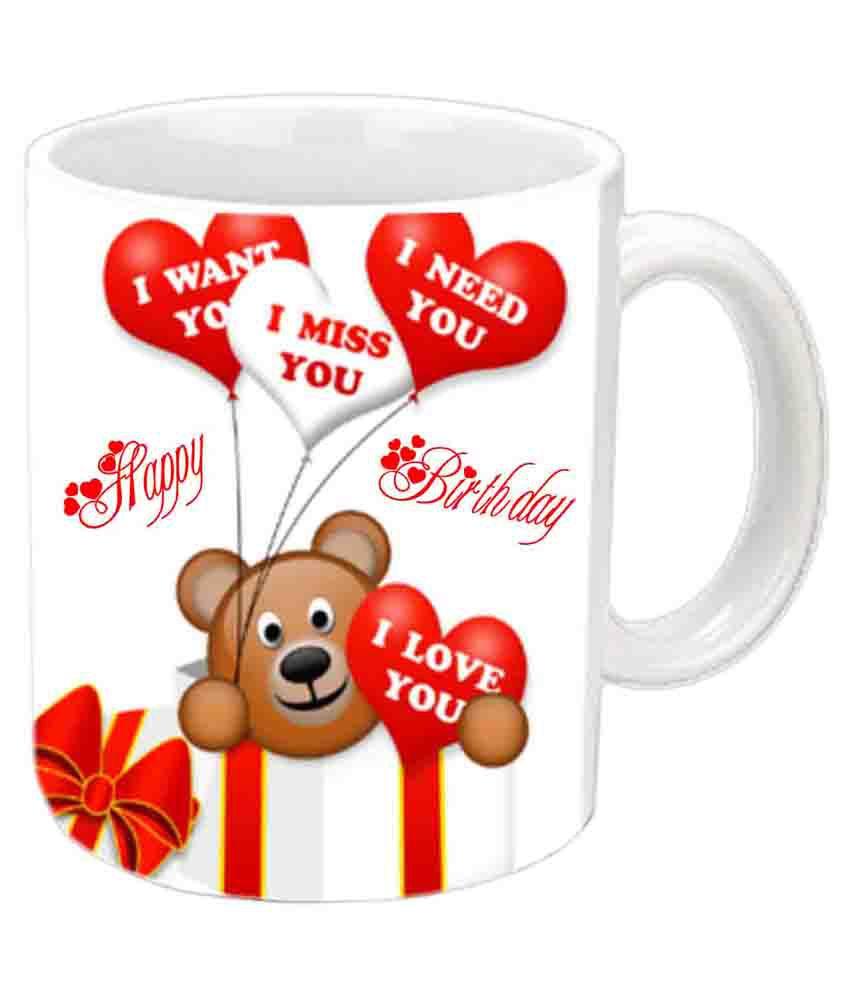 Love Theme Happy Birthday White Ceramic Mug: Buy Online At