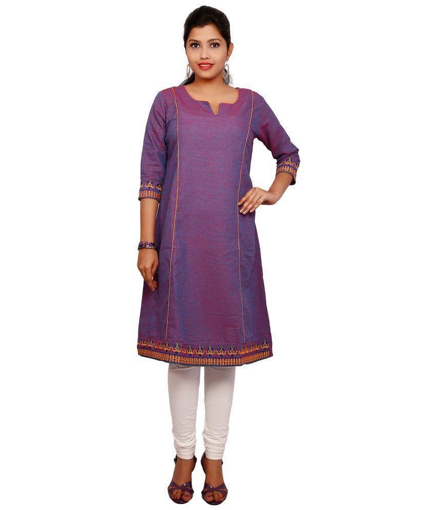 Thraya Purple Straight Cotton Kurti