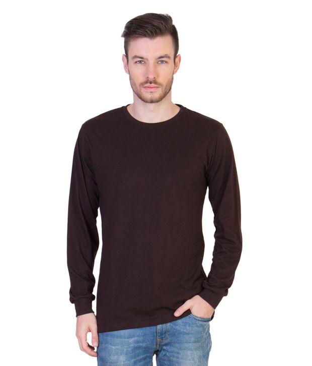 Acomharc Inc Brown Cotton Full Sleeves T Shirt