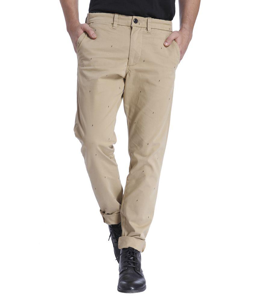 Jack & Jones Beige Slim Fit Casual Trousers