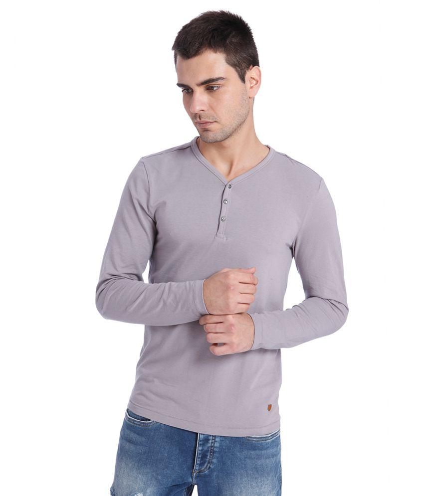 Jack & Jones Grey Henley T-Shirt