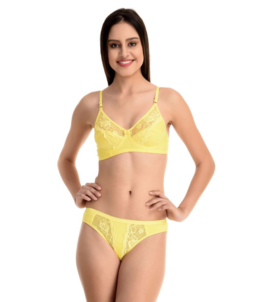 7af015b4d Buy New Fashion Yellow Cotton Bra   Panty Sets Online at Best Prices in  India - Snapdeal