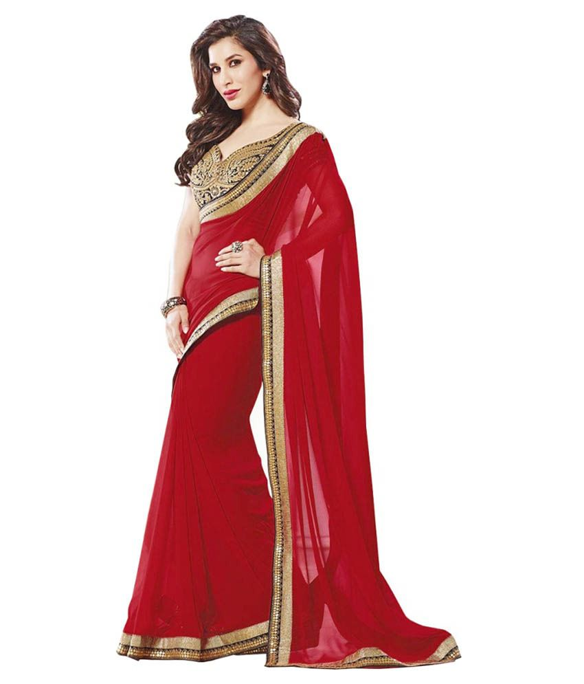 Vf Designer Red and Beige Chiffon Saree