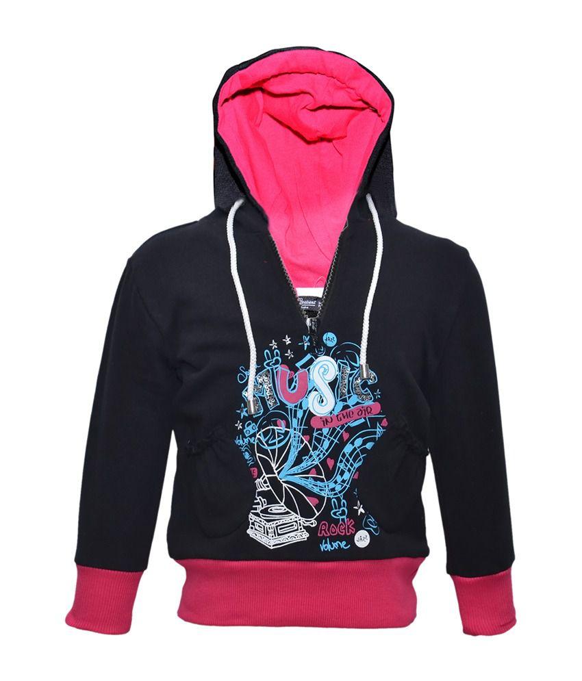 Cool Quotient Black Cotton With Hood Sweatshirt For Girls