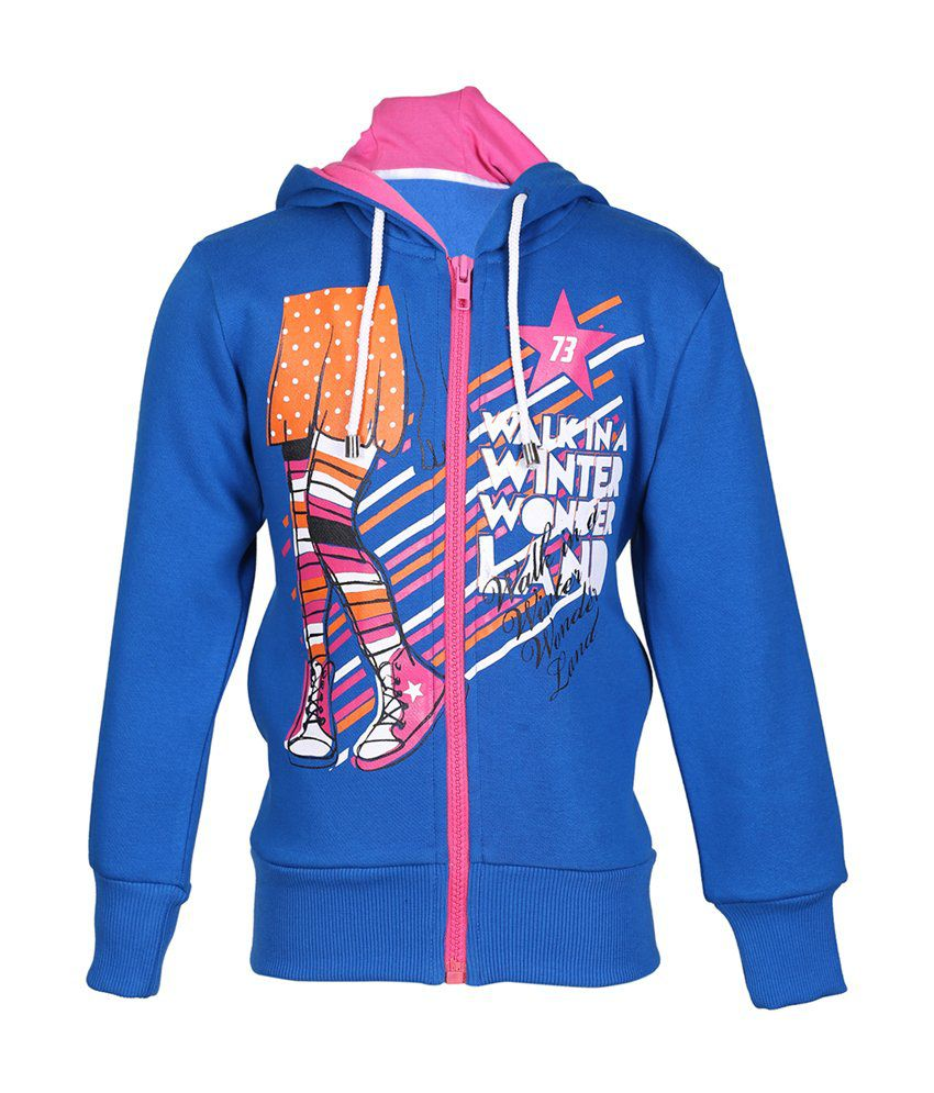 Cool Quotient Blue Cotton Zipper Sweatshirt For Girls