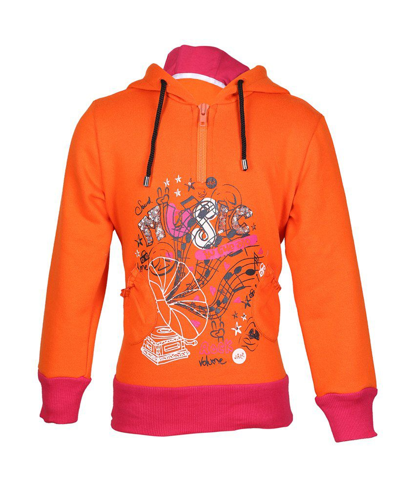 Cool Quotient Orange Cotton With Hood Sweatshirt For Girls