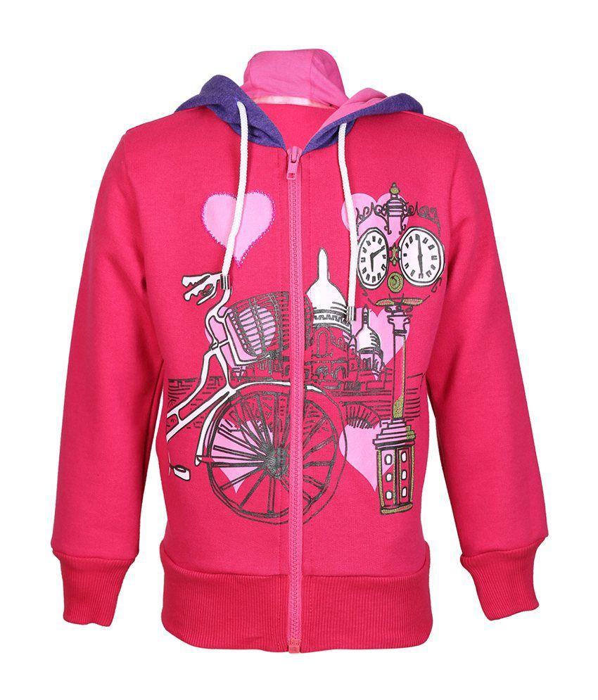 Cool Quotient Pink Cotton Zipper Sweatshirt For Girls