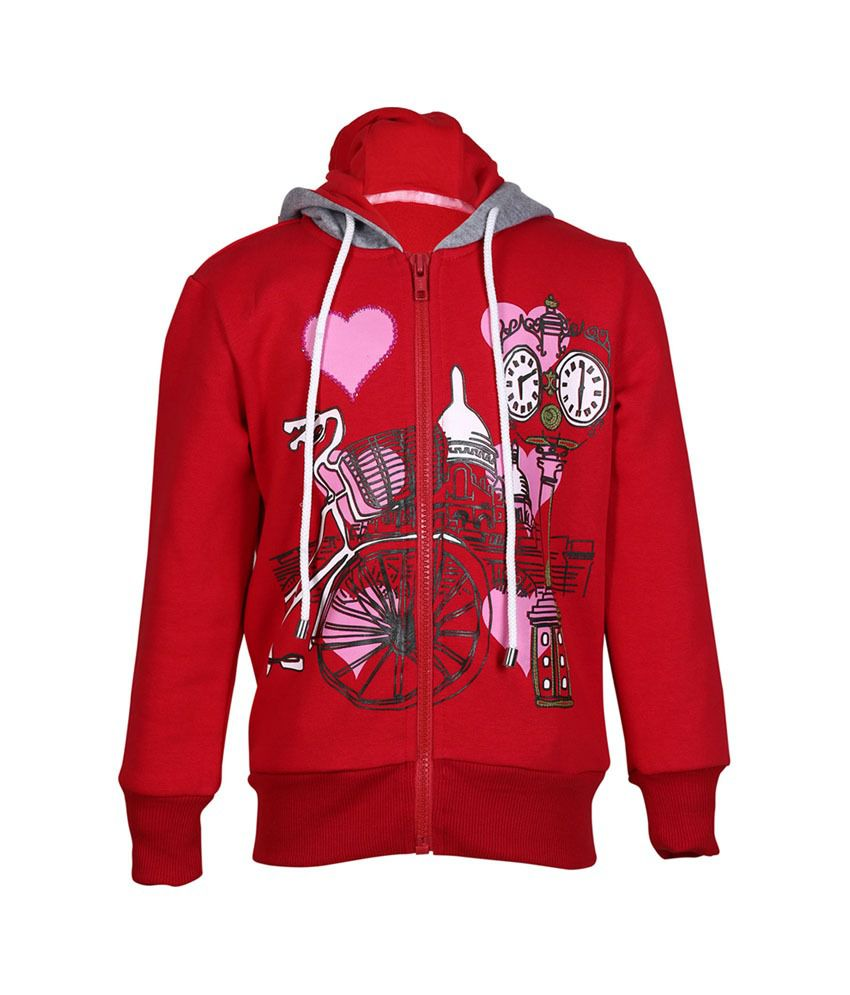Cool Quotient Red Cotton Zipper Sweatshirt For Girls