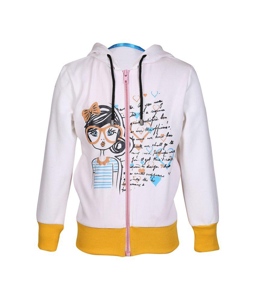 Cool Quotient White Cotton Zipper Sweatshirt For Girls