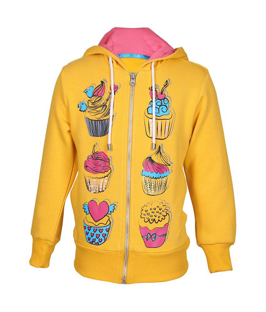 Cool Quotient Yellow Cotton Zipper Sweatshirt For Girls