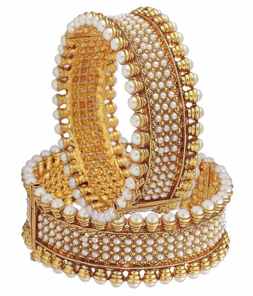 Jewellerywale Golden Copper Pair Of Kadas