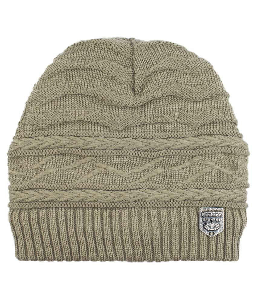 19 square Beige Woollen Cap for Men