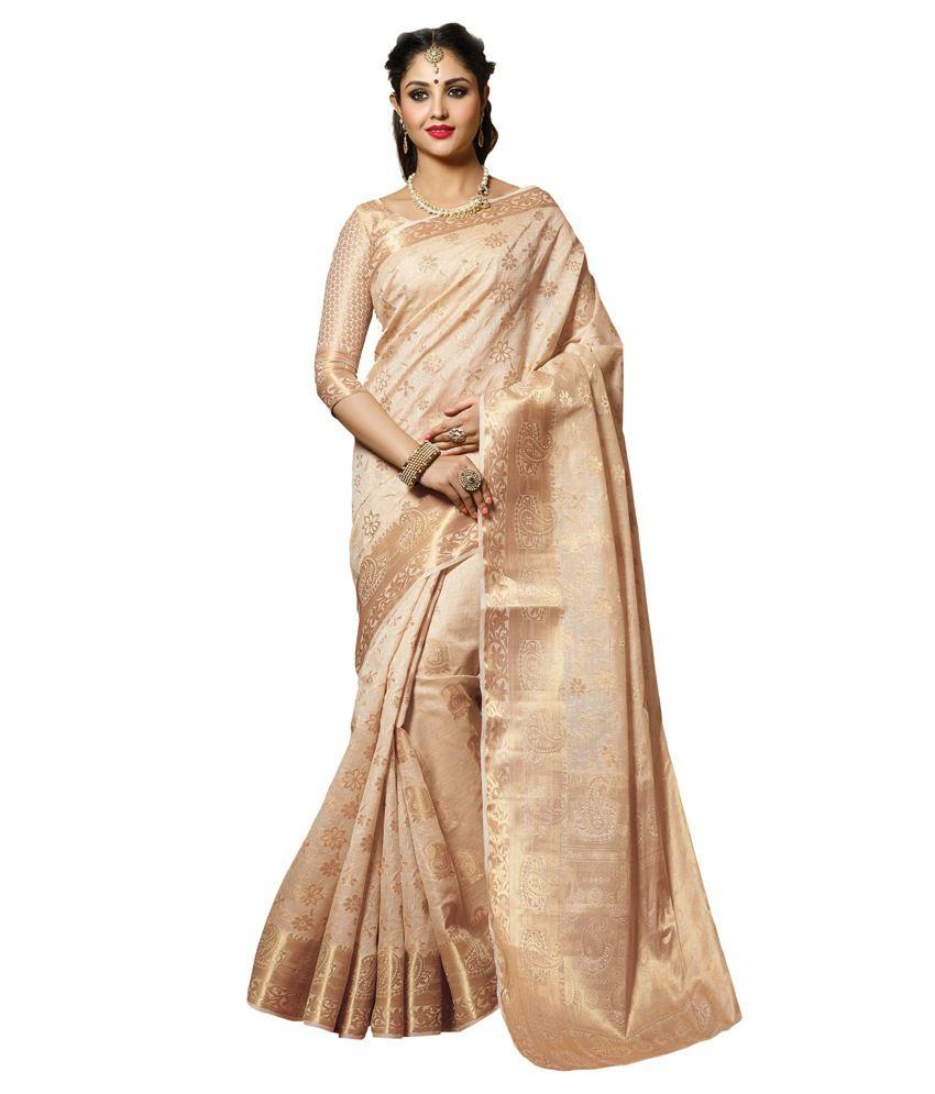 Meghdoot Beige Tussar Silk Saree