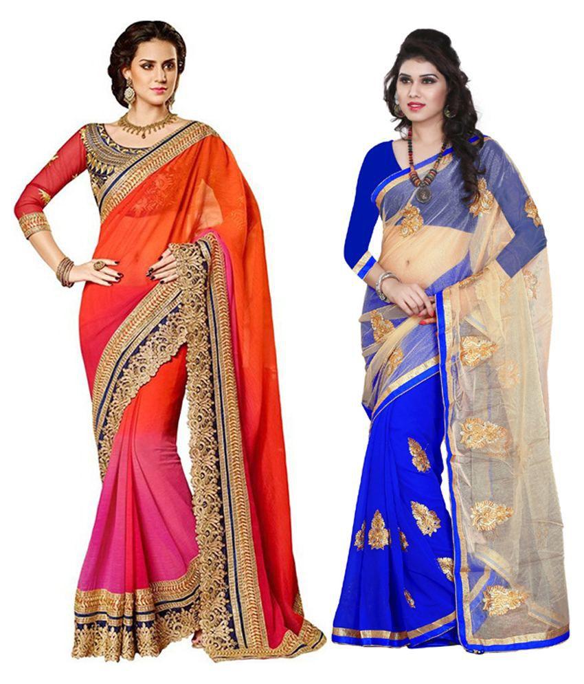 Balaji Fashion Multi Color Faux Georgette Pack Of 2