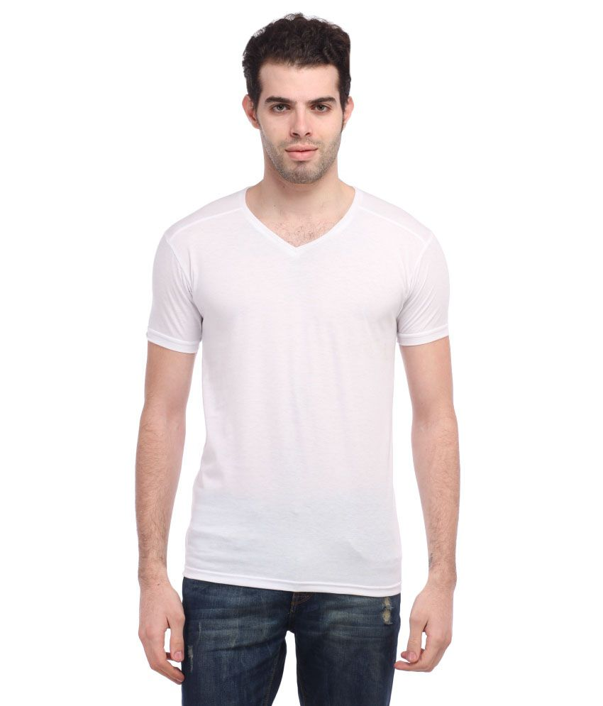 Tees Collection White Cotton Blend T Shirt