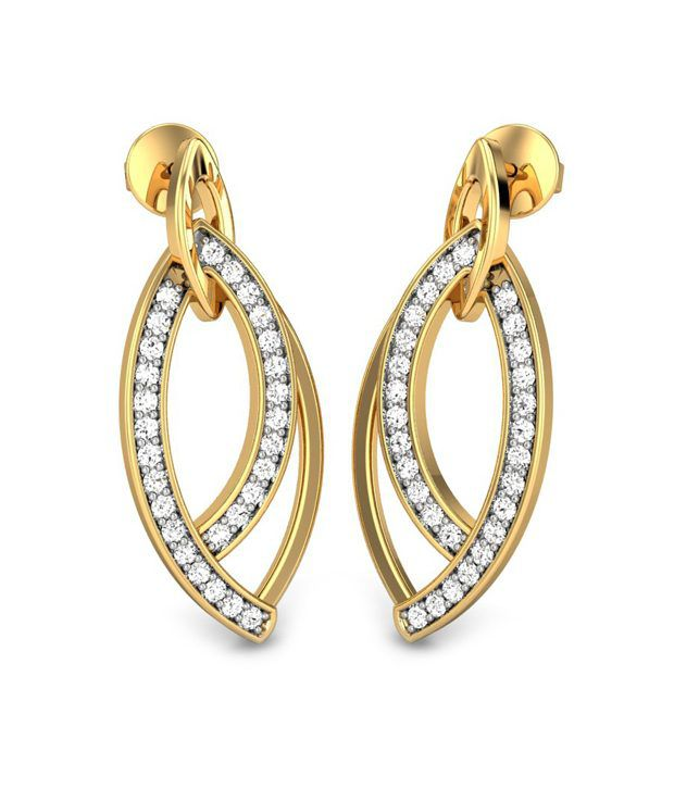 Candere Omega Diamond Earrings 14k Yellow Gold