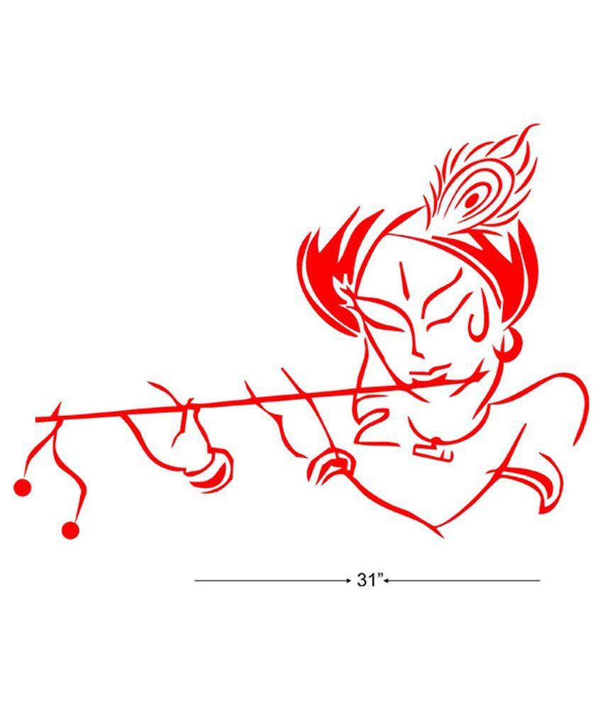 Studio Briana Krishna With Flute Line Vector Art Wall Sticker