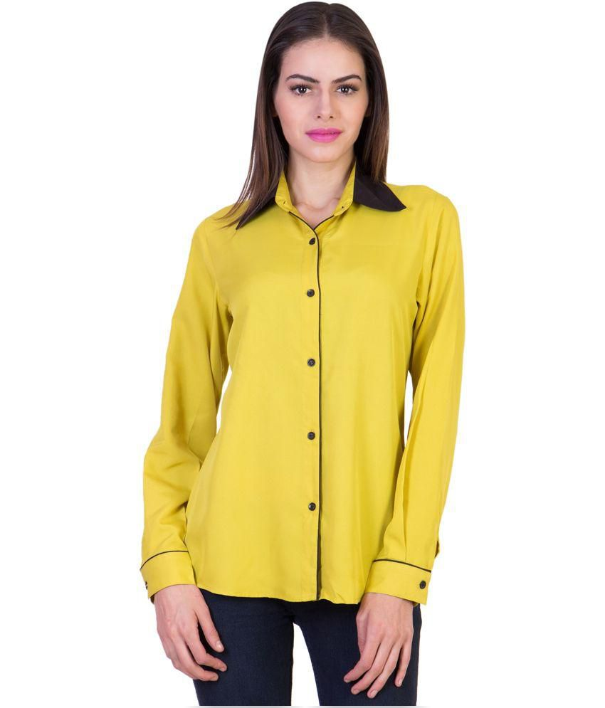 Crosstitch Yellow Poly Crepe Shirts