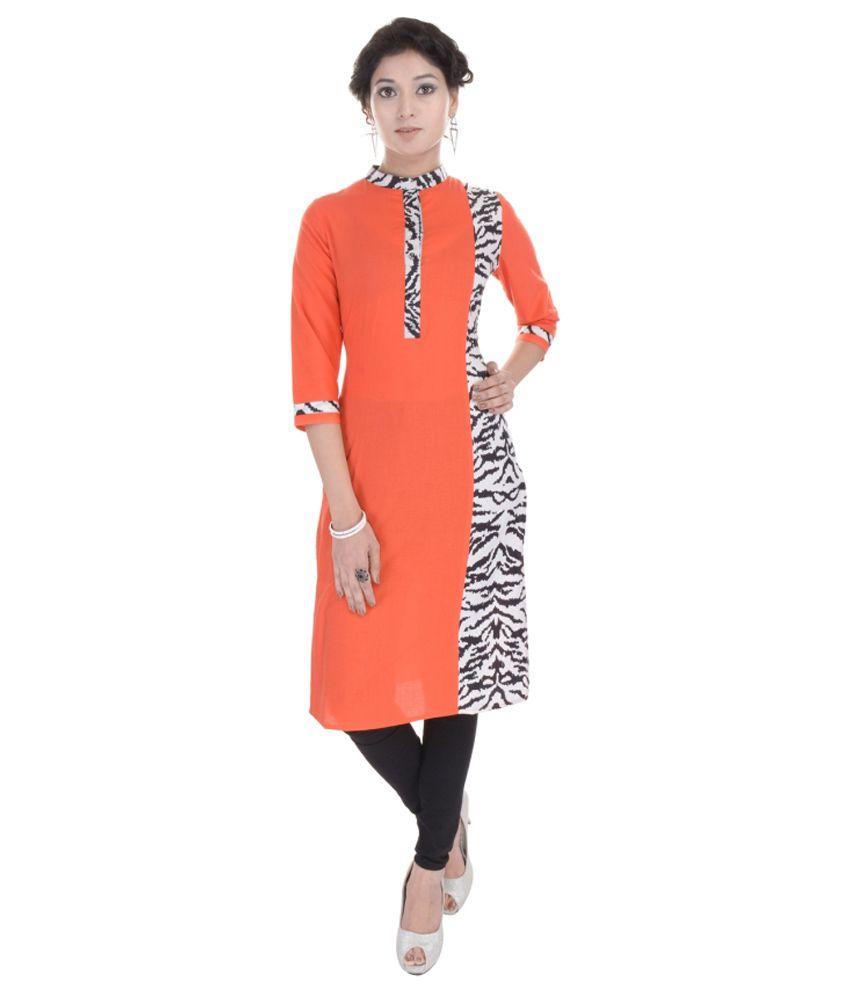 Adesa Orange Straight Cotton Kurti
