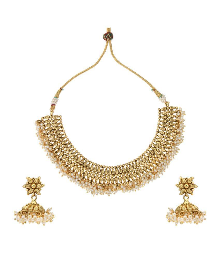 Adiva White Copper Necklace Set