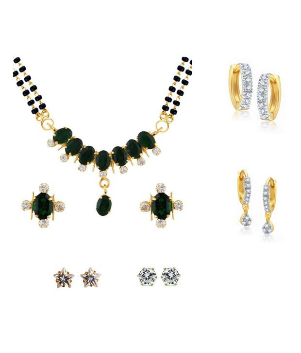 Parijaat Combo Of Golden Alloy CZ Mangalsutra Set With 4 Pair Of Earrings