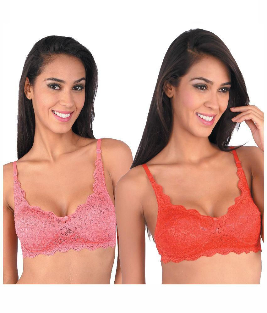 88ecf9c380e22 Buy Bralux Pink and Red Lace Bra - Set of 2 Online at Best Prices in India  - Snapdeal