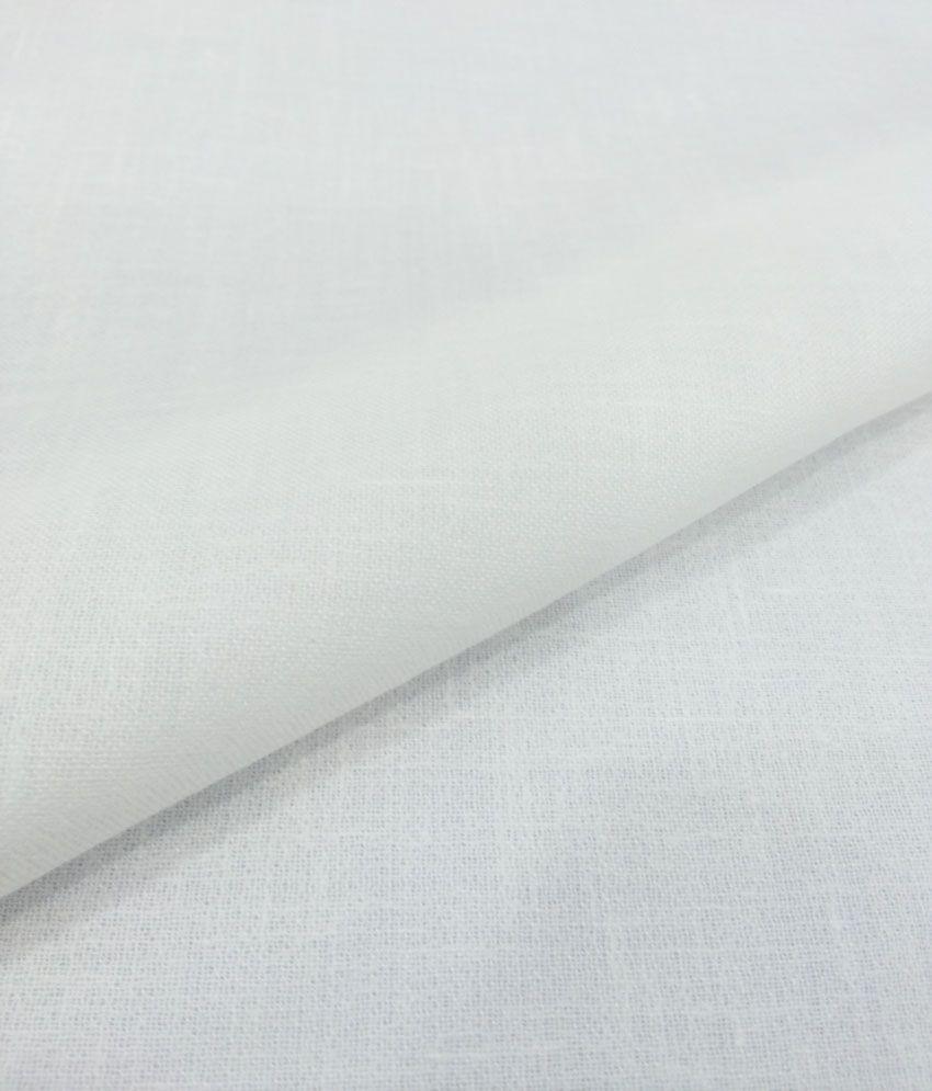 Siyarams White Linen Unstitched Shirt Peice