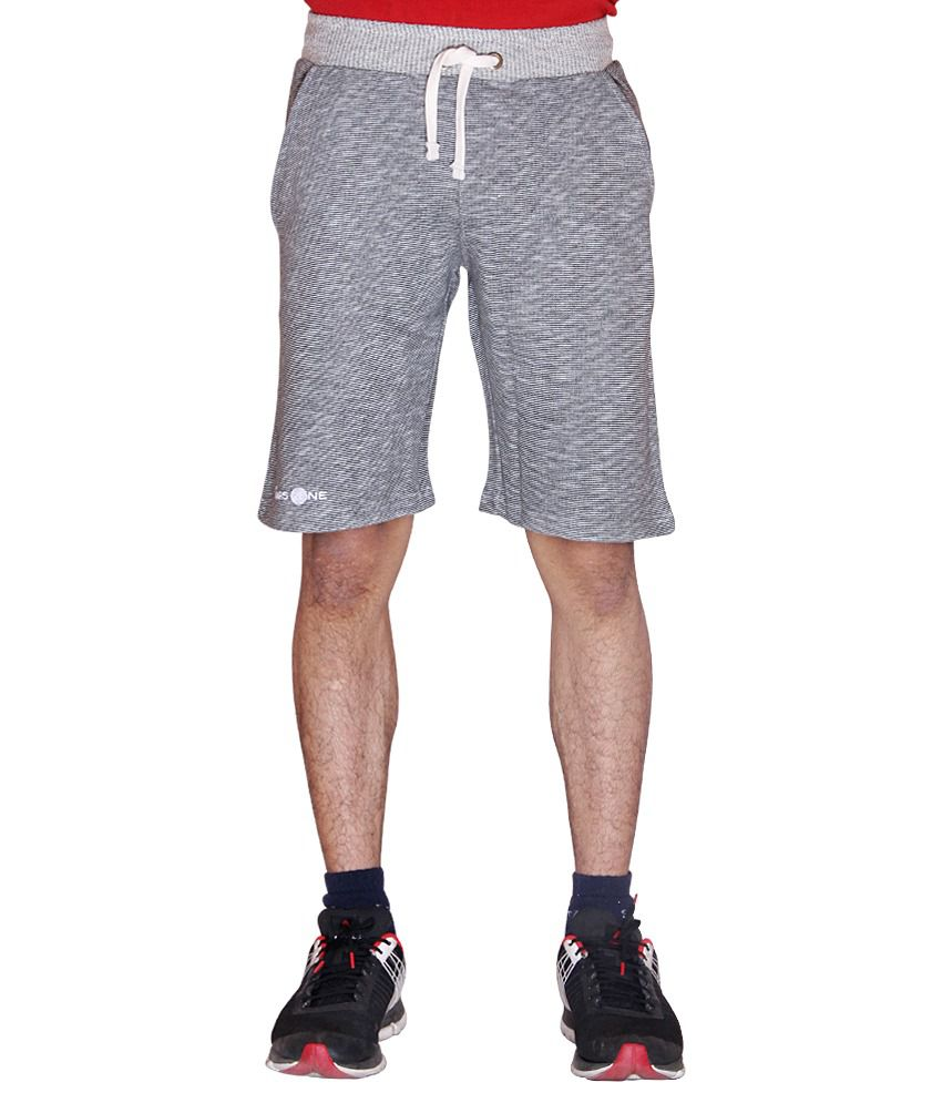 Ukf Mars One Grey Cotton Blend Shorts - Pack Of 2