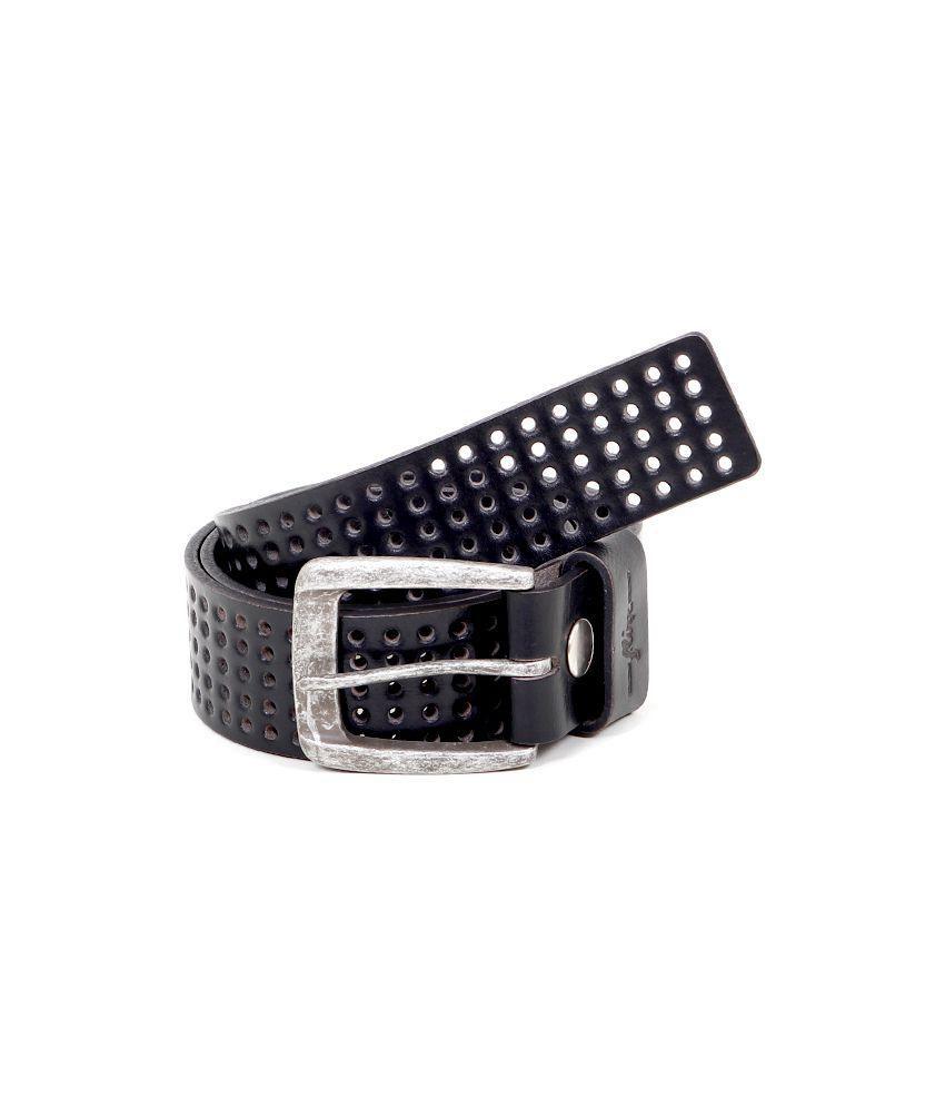 Flinx Black Leather Belt for Men