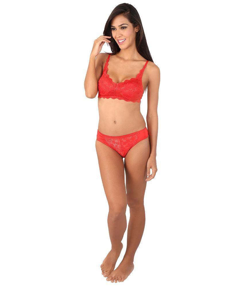 343304cd6048 Buy Bralux Women's Angeleena Red Lingerie Set (Valentine Special) Cup B  Online at Best Prices in India - Snapdeal