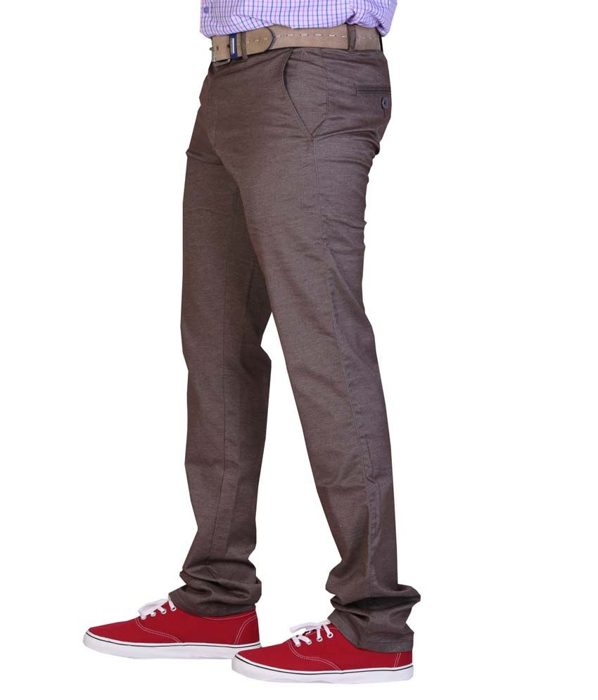 Aikon Brown Slim Fit Formal Flat Trouser