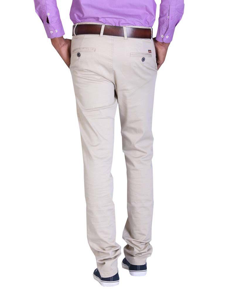 Aikon White Slim Fit Formal Flat Trouser